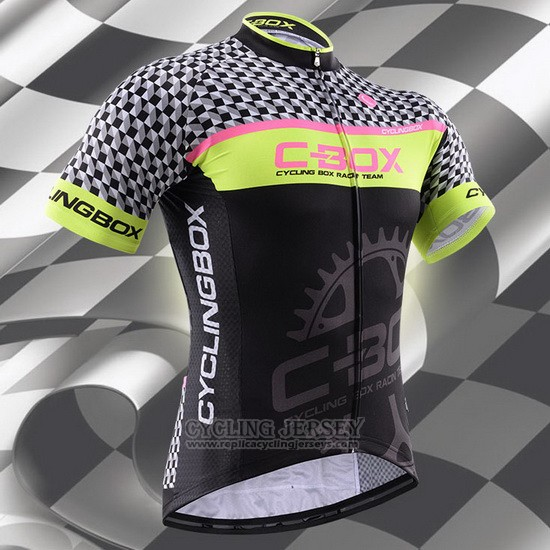 2015 Cycling Jersey Fox Cyclingbox Black and Green Short Sleeve and Bib Short