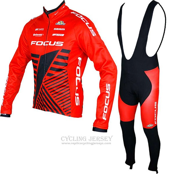 2017 Cycling Jersey Focus XC Ml Red Long Sleeve and Bib Tight