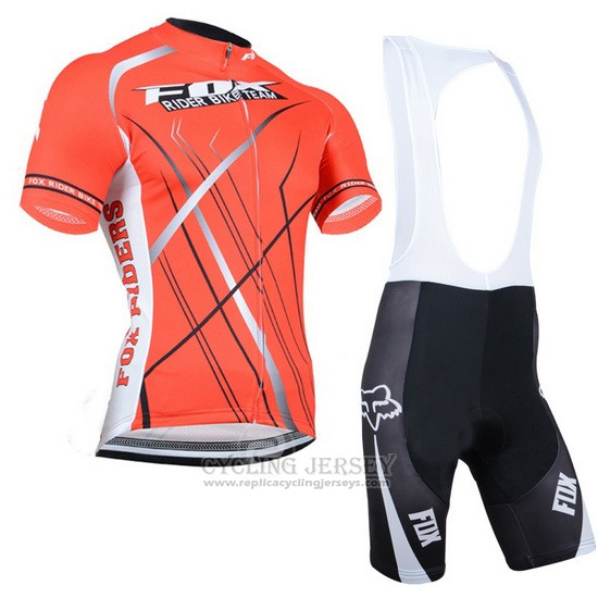 2014 Cycling Jersey Fox Orange Short Sleeve and Bib Short