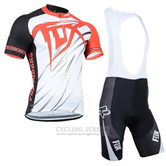 2014 Cycling Jersey Fox Orange and White Short Sleeve and Bib Short