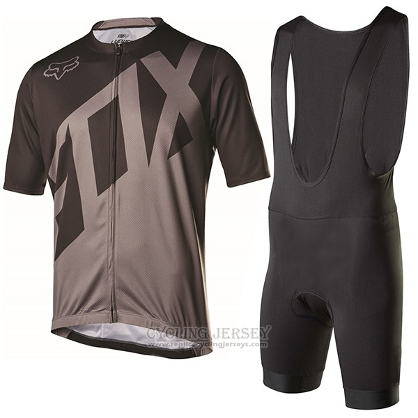2017 Cycling Jersey Fox Livewire Black and Gray Short Sleeve and Bib Short