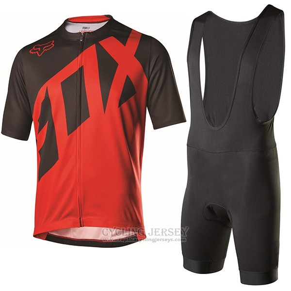 2017 Cycling Jersey Fox Livewire Black and Red Short Sleeve and Bib Short