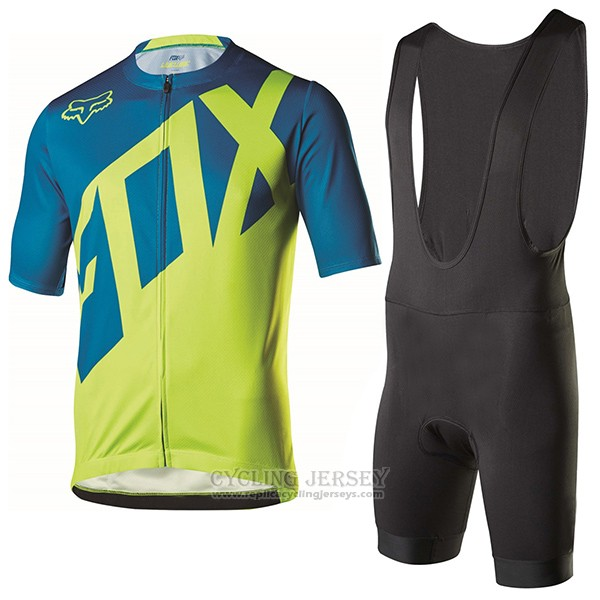 2017 Cycling Jersey Fox Livewire Blue and Green Short Sleeve and Bib Short