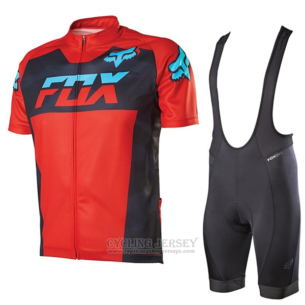 2017 Cycling Jersey Fox Livewire Red Short Sleeve and Bib Short