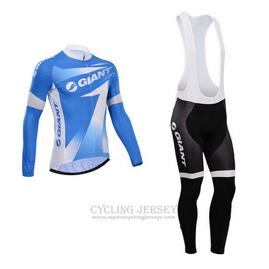 2014 Cycling Jersey Giant Sky Blue Long Sleeve and Bib Tight
