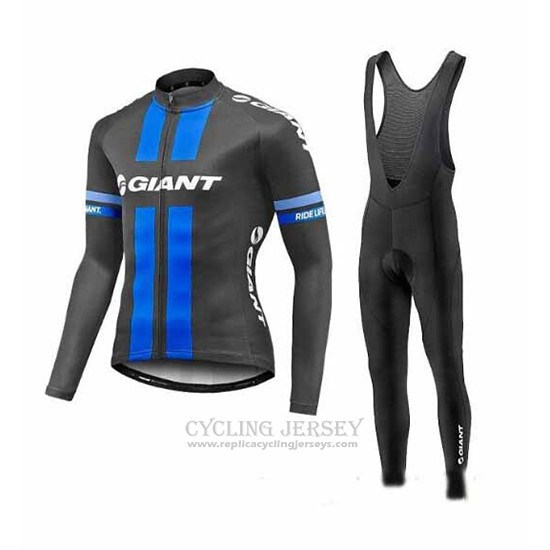 2017 Cycling Jersey Giant Blue and Gray Long Sleeve and Bib Tight