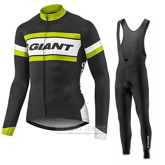 2017 Cycling Jersey Giant Green and Black Long Sleeve and Bib Tight