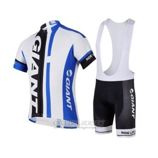 2018 Cycling Jersey Giant White Blue Black Short Sleeve Salopette