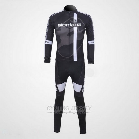 2011 Cycling Jersey Giordana Black and White Long Sleeve and Bib Tight