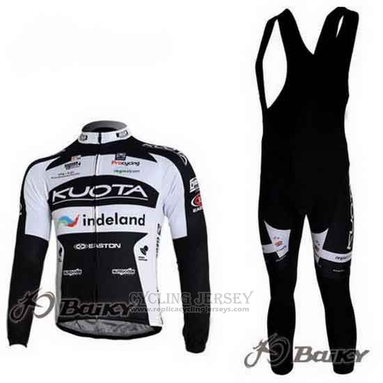 2010 Cycling Jersey Kuota Black and White Long Sleeve and Bib Tight