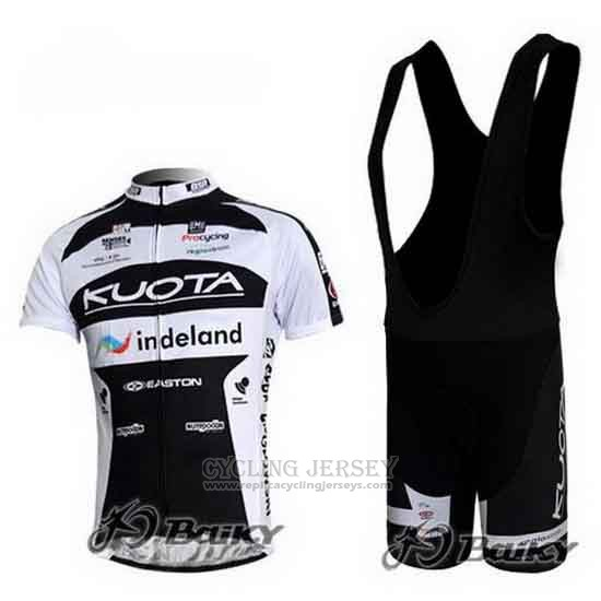 2010 Cycling Jersey Kuota Black and White Short Sleeve and Bib Short
