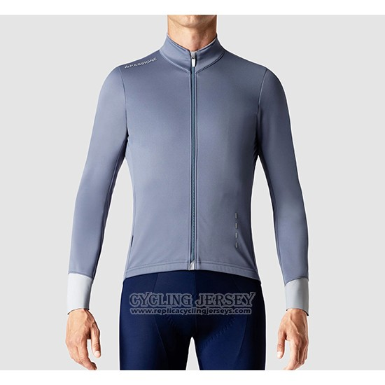 2019 Cycling Jersey La Passione Gray White Long Sleeve And Bib Tight
