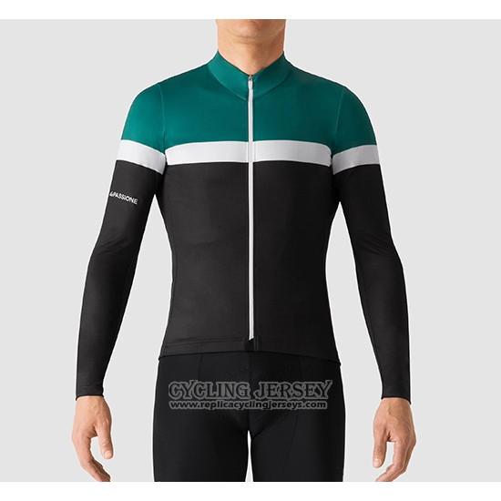 2019 Cycling Jersey La Passione Green White Black Long Sleeve And Bib Tight