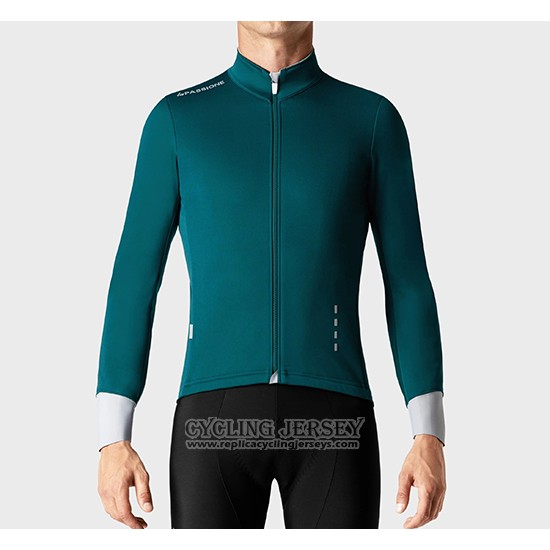 2019 Cycling Jersey La Passione Green White Long Sleeve And Bib Tight