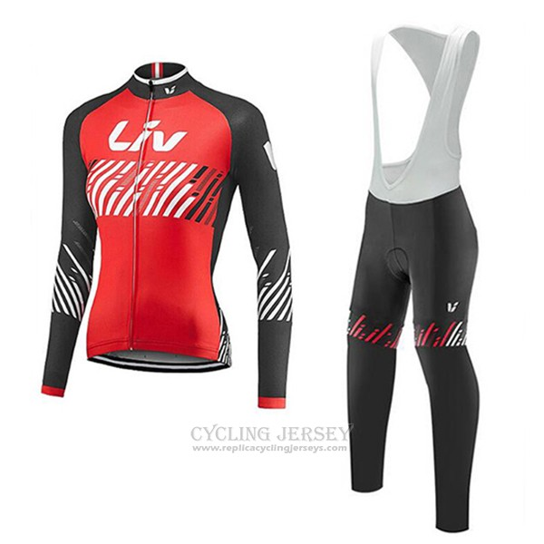 2017 Cycling Jersey Liv Red Long Sleeve and Bib Tight