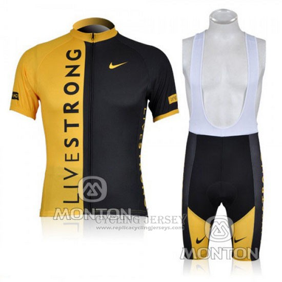 2009 Cycling Jersey Livestrong Black and Yellow Short Sleeve and Bib Short