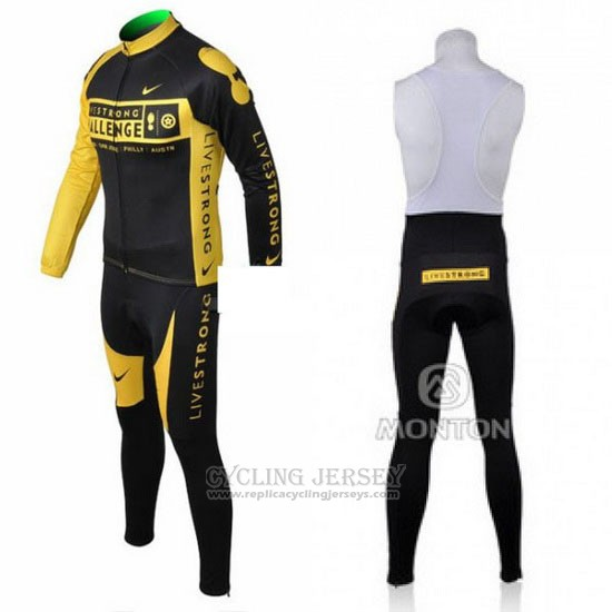 2009 Cycling Jersey Livestrong Yellow and Black Long Sleeve and Bib Tight