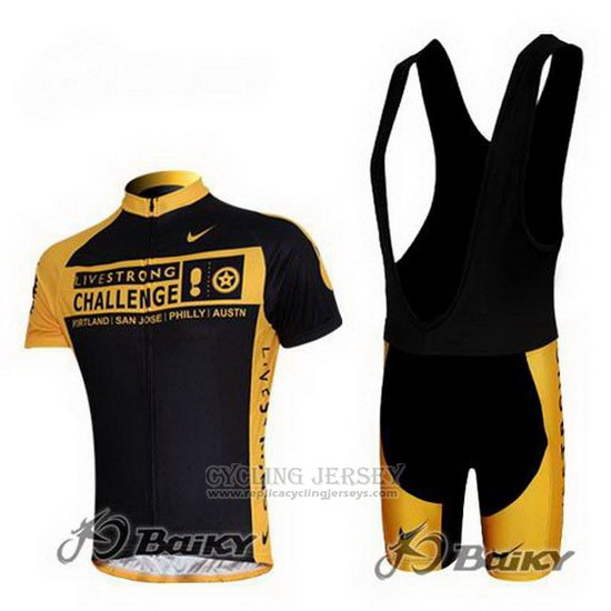 2009 Cycling Jersey Livestrong Yellow and Black Short Sleeve and Bib Short