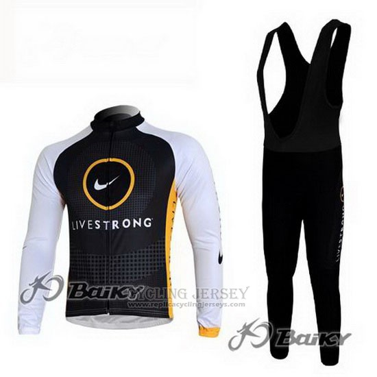 2010 Cycling Jersey Livestrong Black Long Sleeve and Bib Tight