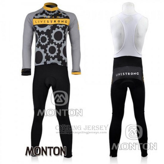 2010 Cycling Jersey Livestrong Gray Long Sleeve and Bib Tight