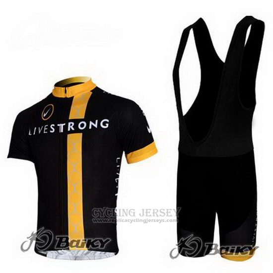 2011 Cycling Jersey Livestrong Black and Yellow Short Sleeve and Bib Short