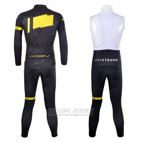 2012 Cycling Jersey Livestrong Black and Yellow Long Sleeve and Bib Tight