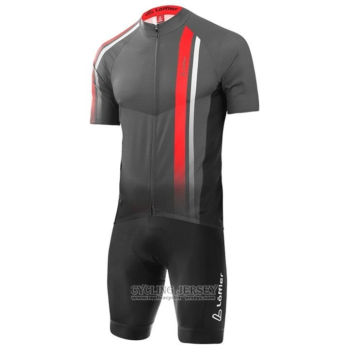 2020 Cycling Jersey Loffler Black White Red Short Sleeve And Bib Short