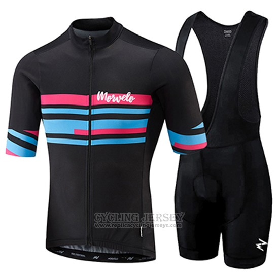 2018 Cycling Jersey Morvelo Black and Blue Short Sleeve and Bib Short