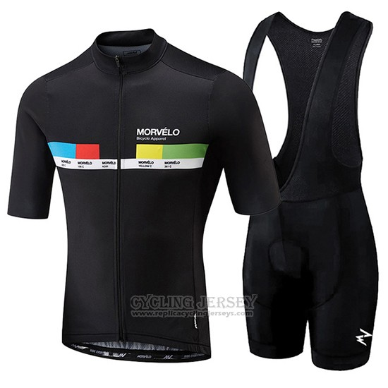 2018 Cycling Jersey Morvelo Black and Yellow Short Sleeve and Bib Short