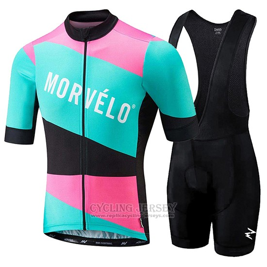 2018 Cycling Jersey Morvelo Green and Pink Short Sleeve and Bib Short