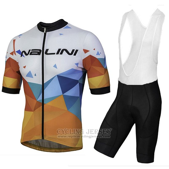 2018 Cycling Jersey Nalini Ahs Discesa White and Orange Short Sleeve and Bib Short