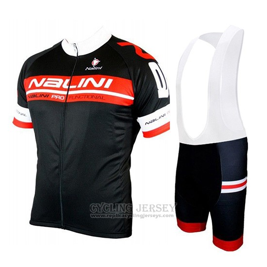 2019 Cycling Jersey Nalini Black Red Short Sleeve and Overalls