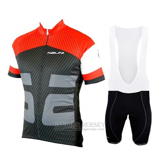 2019 Cycling Jersey Nalini Red Black Short Sleeve and Overalls