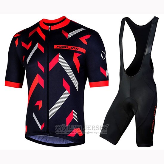 2019 Cycling Jersey Nalini Descesa 2.0 Black Red Short Sleeve and Bib Short