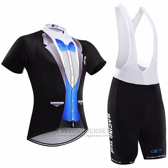 2017 Cycling Jersey Sobycle Black and Blue Short Sleeve and Bib Short