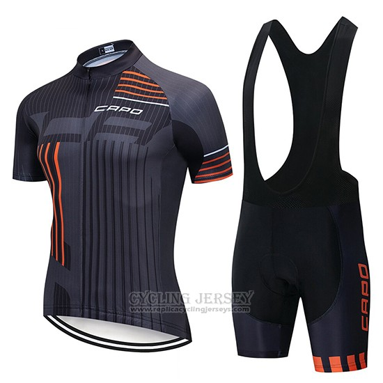 2018 Cycling Jersey Capo Black Gray Orange Short Sleeve and Bib Short