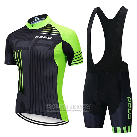 2018 Cycling Jersey Capo Black Green Short Sleeve and Bib Short