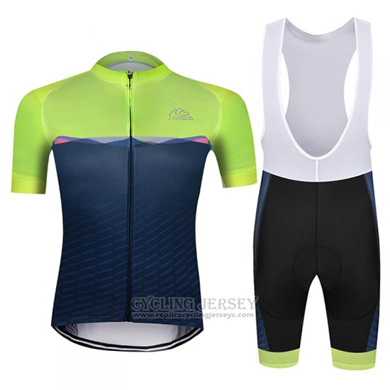 2019 Cycling Jersey Chomir Green Dark Blue Short Sleeve and Bib Short
