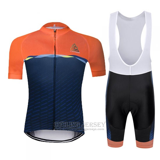 2019 Cycling Jersey Chomir Orange Dark Blue Short Sleeve and Bib Short