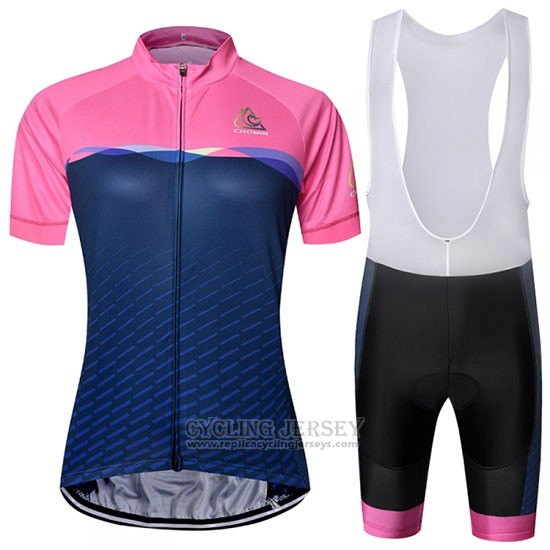 2019 Cycling Jersey Chomir Pink Dark Blue Short Sleeve and Bib Short
