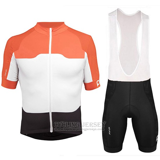 2018 Cycling Jersey POC Orange and White Short Sleeve and Bib Short