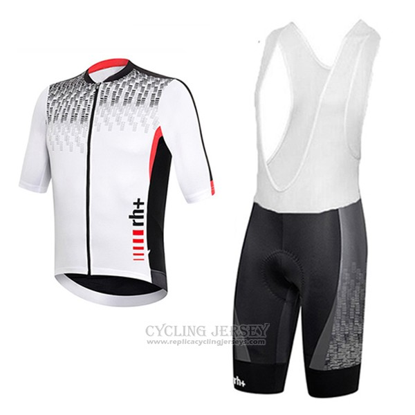 2017 Cycling Jersey RH+ Gray and White Short Sleeve and Bib Short