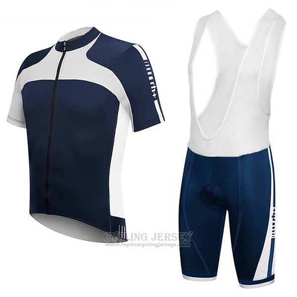 2017 Cycling Jersey RH+ White and Blue Short Sleeve and Bib Short