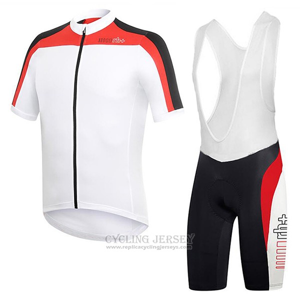 2017 Cycling Jersey RH+ White and Red Short Sleeve and Bib Short