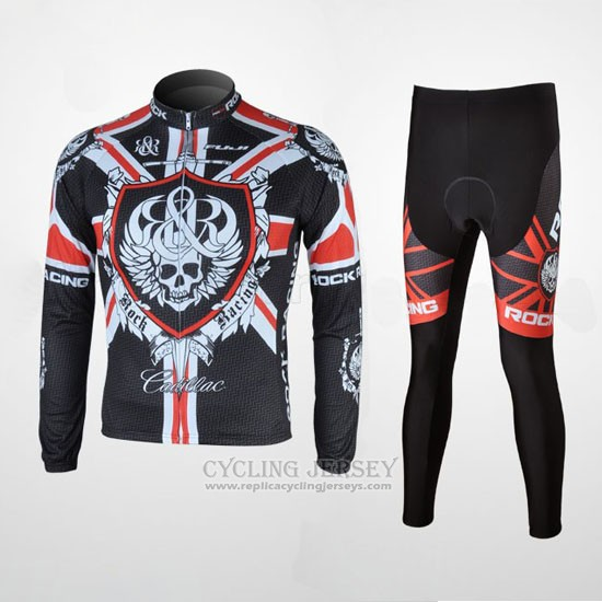 2010 Cycling Jersey Rock Racing Black and Red Long Sleeve and Bib Tight