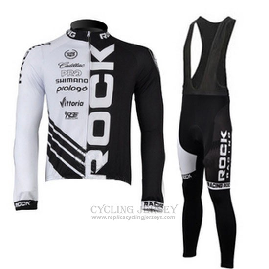 2010 Cycling Jersey Rock Racing Black and White Long Sleeve and Bib Tight