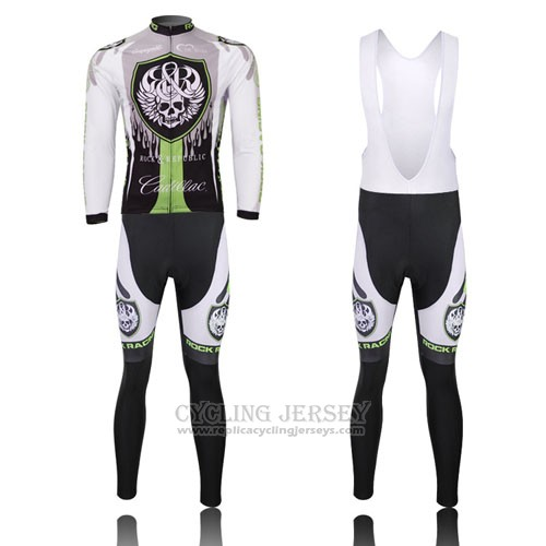 2013 Cycling Jersey Rock Racing Black and Green Long Sleeve and Bib Tight