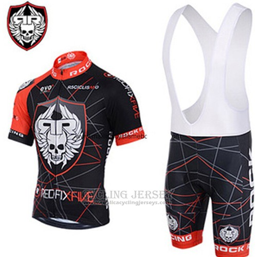 2013 Cycling Jersey Rock Racing Red and Black Short Sleeve and Bib Short