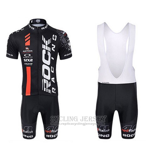2015 Cycling Jersey Rock Racing Black and Red Short Sleeve and Bib Short