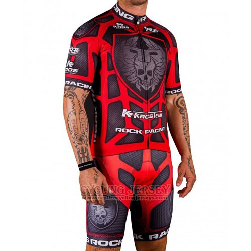 2016 Cycling Jersey Rock Racing Red and Marron Short Sleeve and Bib Short